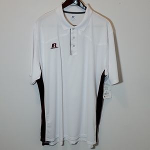 Russell Athletic Polo Shirt White and Maroon